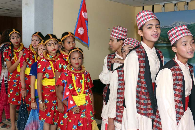 Children participate in a function oraganised by the Ministry of Women, Chilldren and Social Welfare and the Central Child Welfare Board to mark the National Children's Day, in Kathmandu, on Wednesday, September 14, 2016. Photo: RSS