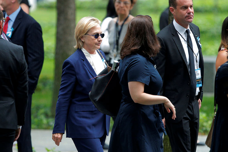US Democratic presidential candidate Hillary Clinton arrives for ceremonies to mark the 15th anniversary of the September 11 attacks at the National 9/11 Memorial in New York, New York, United States, on September 11, 2016. Photo: Reuters
