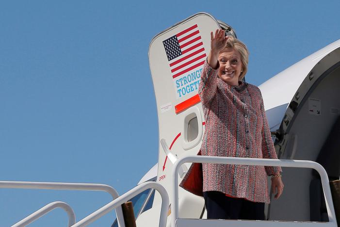Hillary Clinton boards her campaign plane in White Plains, New York. Clinton, 68, had been resting at her home in Chappaqua, New York, after being diagnosed with pneumonia and falling ill at a Sept. 11 memorial ceremony.nnREUTERS/Brian Snyder
