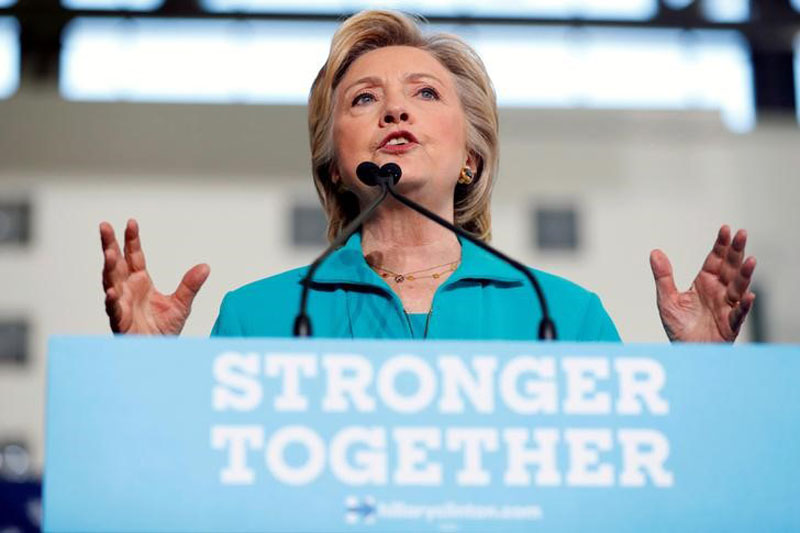 File - Democratic presidential nominee Hillary Clinton speaks at a rally at Truckee Meadows Community College in Reno, Nevada, on August 25, 2016. Photo: Reuters