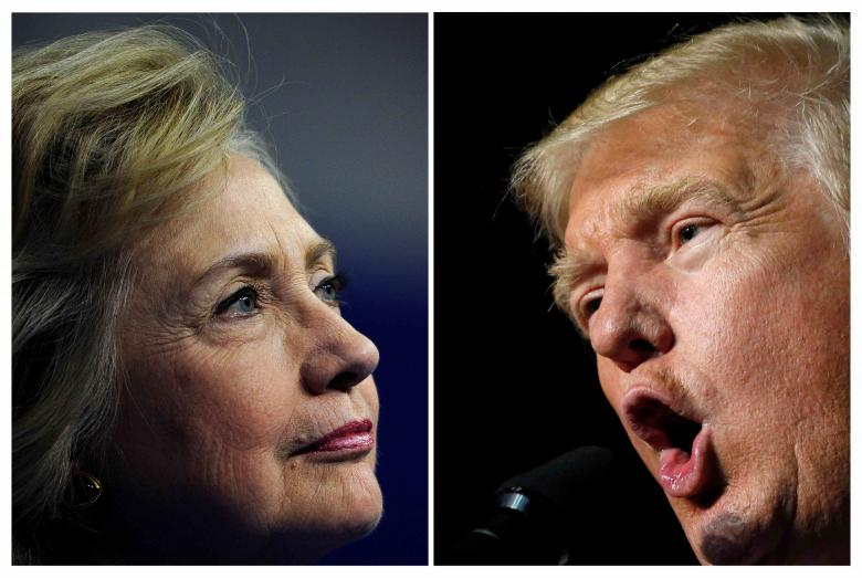 Democratic presidential candidate Hillary Clinton speaks during an event in Scranton, Pennsylvania, August 15, 2016 and Republican presidential nominee Donald Trump holds a rally in Roanoke, Virginia, September 24, 2016 in a combination of file photographs.   REUTERS/Charles Mostoller/Jonathan Ernst/Files