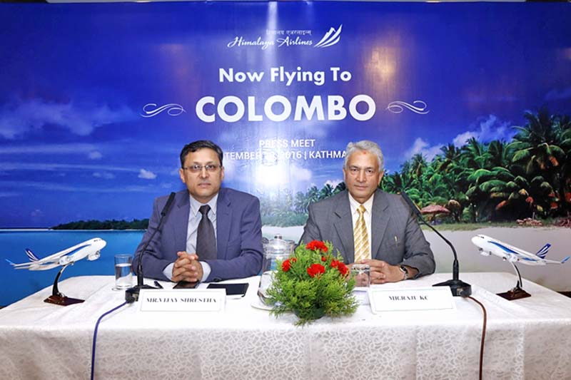 Himalaya Airlines officials at a press meet, launching their new destination to Colombo of Sri Lanka, in Kathmandu, on Tuesday, September 20, 2016. Courtesy: Himalaya Airlines