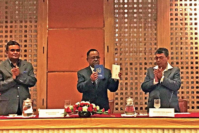 Hotel Association Nepal President BK Shrestha announcing HANu2019s golden jubilee celebration programme, in Kathmandu, on Thursday, September 15, 2016. Photo: THT