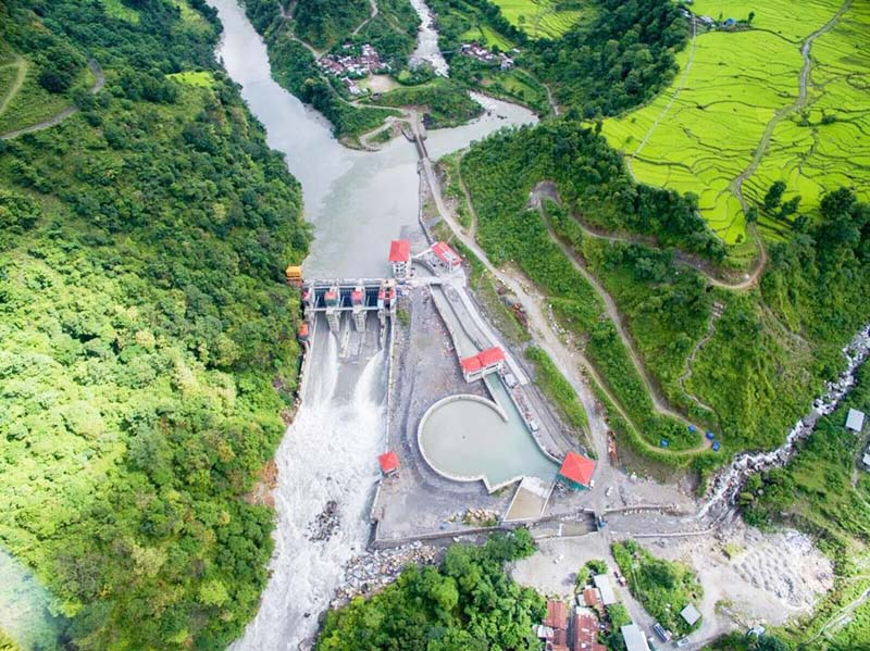 An aerial view of the  under construction Upper Marsyangdi-A Hydropower Project at Bhulbhule in Lamjung district on Thursday, September 15, 2016. Photo: RSS