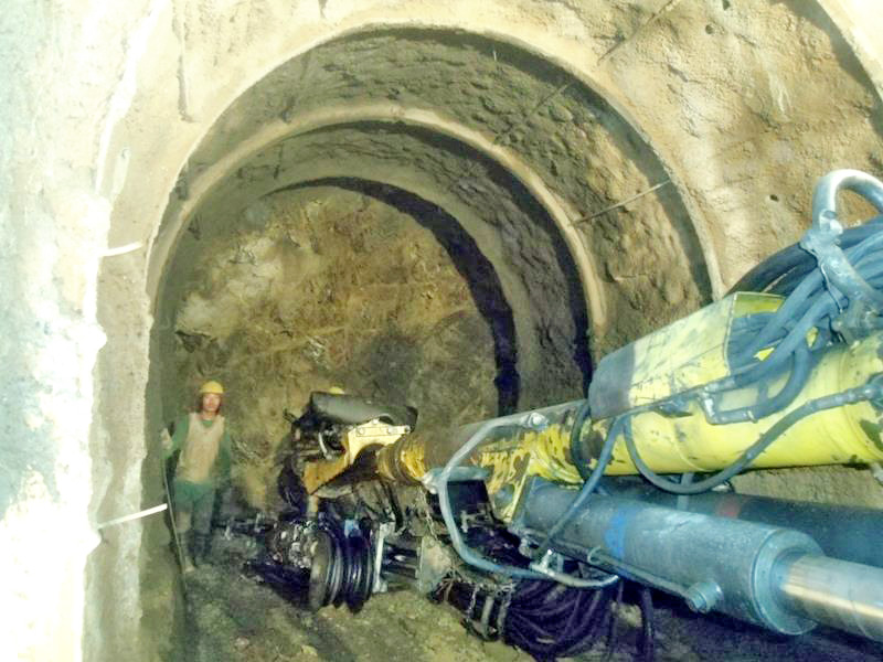 A view of a tunnel of the Hewa A Hydro-electric Project near district headquarters Phidim, in Panchthar, on Sunday, September 11, 2016. Photo: THT