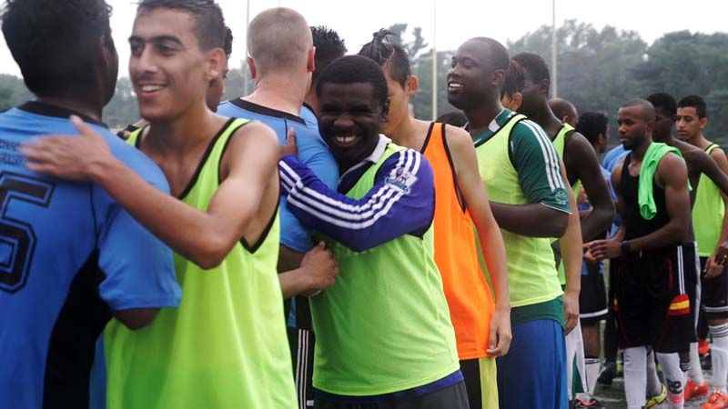 File- Members of Team Nigeria and Team India shake hands after a friendly soccer match in Philadelphia, on August 21, 2016. Photo: AP