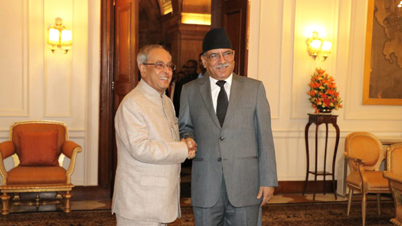 Prime Minister Pushpa Kamal Dahal pays a courtesy call on Indian President Pranab Mukherjee during his four-day state visit to India, on Friday, September 16, 2016. Photo: RSS