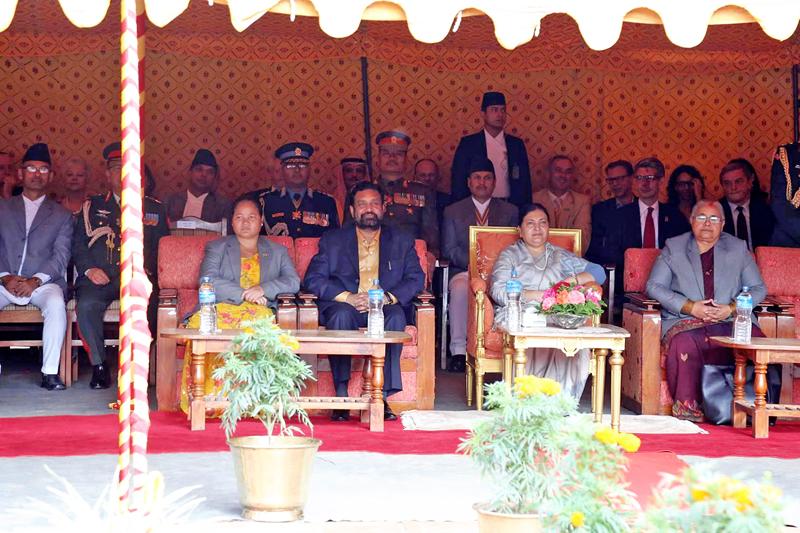 President Bidya Devi Bhandari along with Acting Prime Minister Bimalendra Nidhi, Speaker Onsari Gharti Magar and Chief Justice Sushila Karki observing the Indra Jatra festival at Basantapur, Kathmandu, on Thursday, September 15, 2016. Photo: RSS