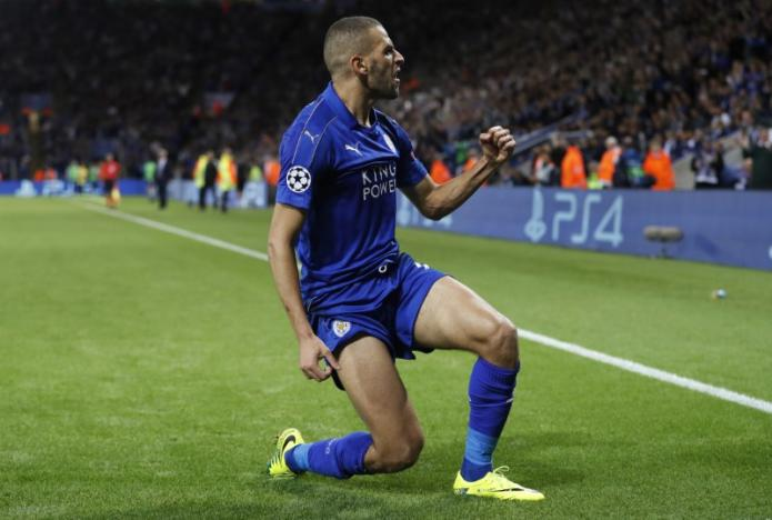 Britain Soccer Football - Leicester City v FC Porto - UEFA Champions League Group Stage - Group G - King Power Stadium, Leicester, England - 27/9/16nLeicester City's Islam Slimani celebrates scoring their first goal nAction Images via Reuters / Carl Recine