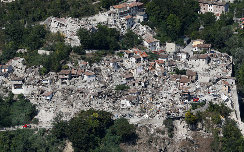 File - A general view after earthquake that levelled the town in Pescara del Tronto, central Italy, on September 1, 2016. Photo: Reuters