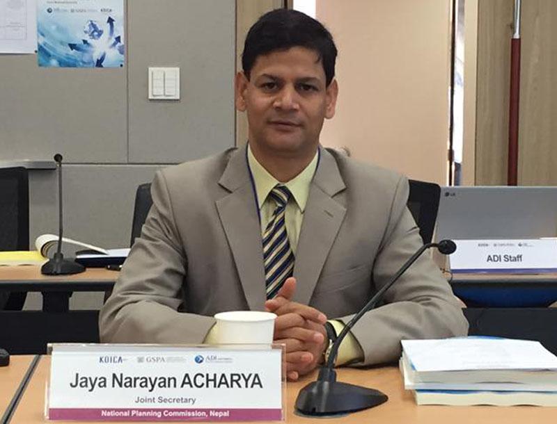 National Planning Commission Joint Secretary Jaya Narayan Acharya. Photo: KOICA