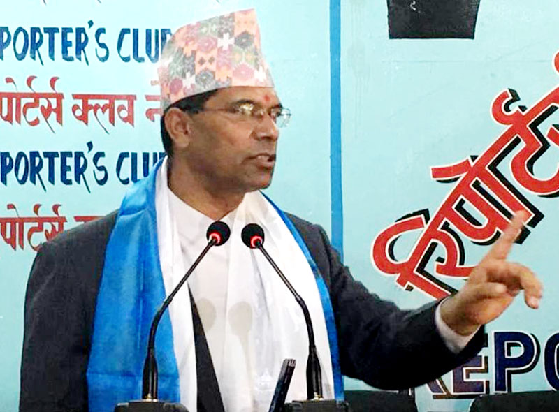 Minister for Culture, Tourism and Civil Aviation Jeeban Bahadur Shahi speaks at an interaction programme in Kathmandu, on Thursday, September 01, 2016. Photo: Reporters' Club