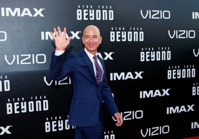 CEO of Amazon.com Jeff Bezos arrives for the world premiere of ''Star Trek Beyond'' at Comic Con in San Diego, California US, July 20, 2016. Photo: REUTERS