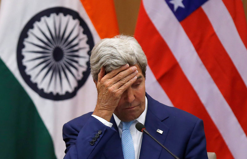 US Secretary of State John Kerry gestures during a joint news conference with India's External Affairs Minister Sushma Swaraj (not pictured) in New Delhi, India, on August 30, 2016. Photo: Reuters