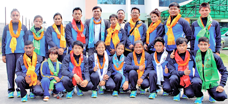 Nepali judo team members pose for a group photo during a farewell programme in Lalitpur on Friday, September 2, 2016. The team is leaving for India on Saturday to take part in the 10th Asian Cadet and 17th Asian Junior Judo Championships slated for September 7-11 at Rajiv Gandhi Indoor Stadium in Kerala. Photo: THT