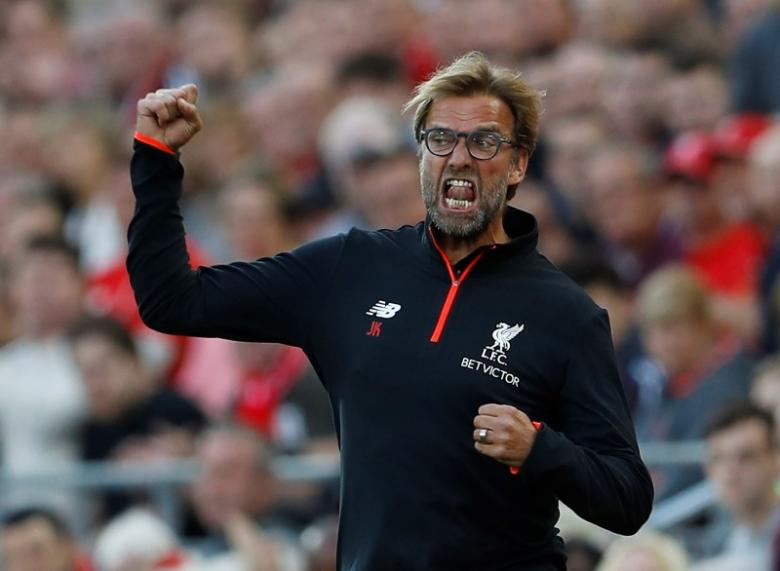Britain Soccer Football - Liverpool v Leicester City - Premier League - Anfield - 10/9/16nLiverpool manager Juergen Klopp celebrates their third goal nAction Images via Reuters / Lee SmithnLivepic