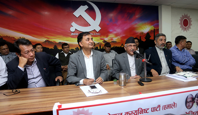 FILE: CPN-UML Chair KP Sharma Oli speaking at a programme organised on the occasion of upcoming Dashain festival, at the partyu2019s office in Dhumbarahi of Kathmandu, on Thursday, September 29, 2016. Photo: RSS