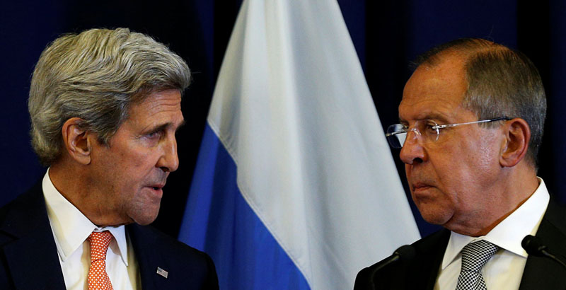 US Secretary of State John Kerry and Russian Foreign Minister Sergei Lavrov look toward one another during a press conference following their meeting in Geneva, Switzerland where they discussed the crisis in Syria, on September 9, 2016. Photo: Reuters