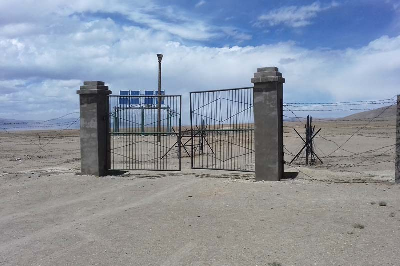 A China-built entrance is seen at the Nepal-China border point in Korala of Mustang district, on Sunday, September 4, 2016. Photo: RSS