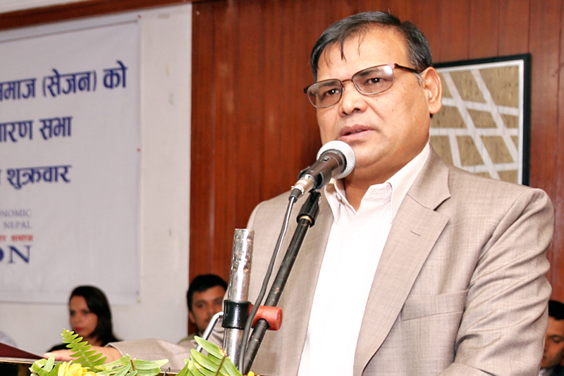 FILE: Deputy Prime Minister and Finance Minister Krishna Bahadur Mahara speaking on the ocassion of 17th Annual General meeting of Society of Economic Journalists-Nepal, in Kathmandu, on Friday, September 16, 2016. Photo: RSS