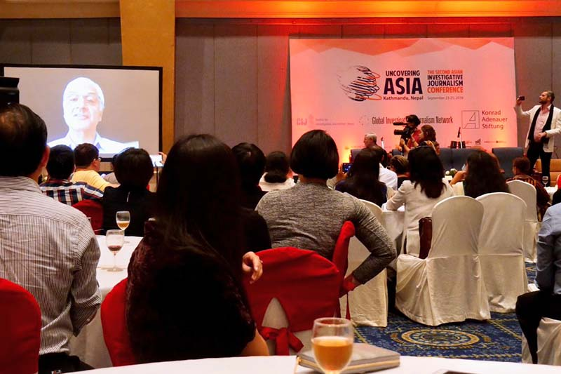Journalist and publisher Kunda Dixit addresses a programme of the Global Investigative Journalism Network via video, in Kathmandu, on Saturday, September 24, 2016. Photo Courtesy: Raffy Tima/ Twitter