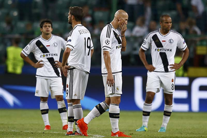 Legia Warszawa's players react after the match against Borussia Dortmund of the UEFA Champions League group stage at the Polish Army Stadium, Warsaw, Poland on September 14, 2016. Photo: Reuters