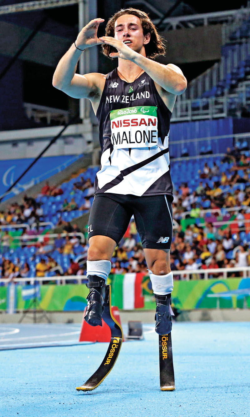 Liam Malone of New Zealand celebrates after winning gold medal in the menu0092s 200-metre event of the 2016 Rio Paralympics at the Olympic Stadium in Rio de Janeiro on Monday, September 12, 2016.