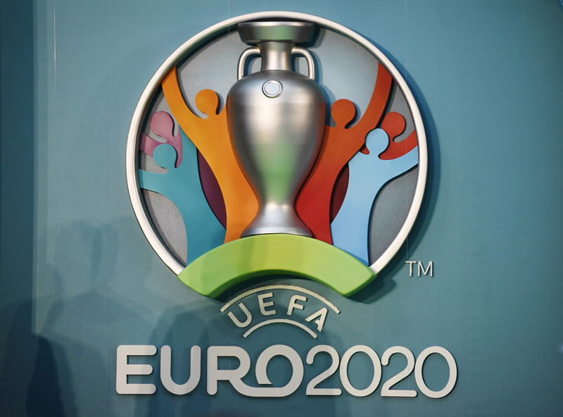 The UEFA EURO 2020 logo on display during the launchn at London City Hall, on Wednesday, September 21, 2016. Photo: Reuters