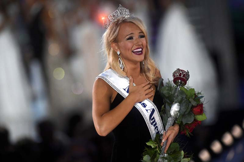 Miss Arkansas Savvy Shields (21) reacts after winning the 96th Miss America Pageant inside Boardwalk Hall in Atlantic City, New Jersey, on Sunday, September 11, 2016. Photo: Reuters