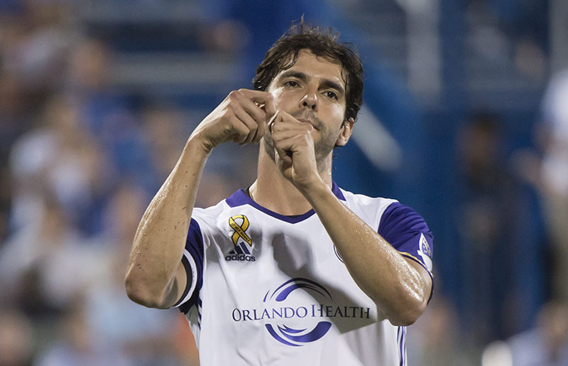 Orlando City FC midfielder Kaka celebrates his goal against the Montreal Impact during the second half of an MLS soccer game, on Wednesday, September 7, 2016 in Montreal. Photo: Paul Chiasson/The Canadian Press via AP