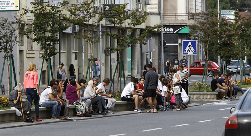 People sit in a street outside their homes, after an earthquake in Skopje, Macedonia, on Sunday, September 11, 2016. Photo: AP