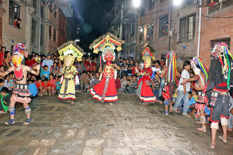 Artists dressed as deities performing traditional Mahakali Nach in Madyapur Thimi Municipality, on Tuesday, September 13, 2016. Photo: RSS