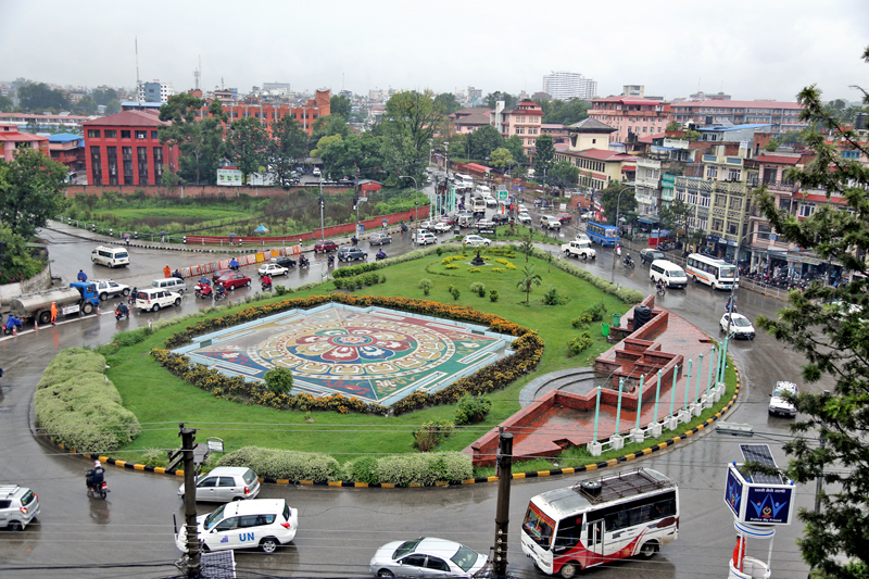 An ariel view of Maitighar mandala, Kathmandu, as captured on Monday, September 12, 2016. Photo: RSS