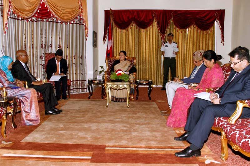 Maldivian Ambassador to Nepal Ahmed Saleem in a meeting with President Bidya Devi Bhandari at the latter's office, Sheetal Niwas, on Tuesday, September 20, 2016. Photo Courtesy: Presidentu2019s Office