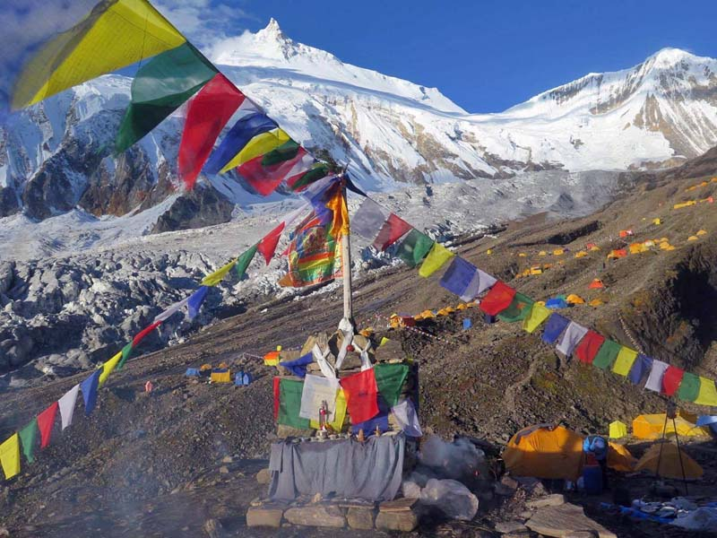 This photo shows the Mt Manaslu base camp in September, 2016. Photo Courtesy: Mingma Sherpa
