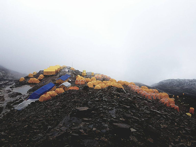 A view of the Mt Manaslu base camp in September 2016. Photo: Mingma Sherpa