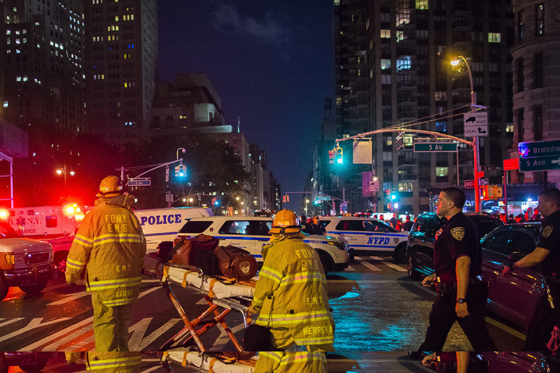 Police and firefighters work near the scene of an apparent explosion in Manhattan's Chelsea neighborhood, in New York, Saturday, September 17, 2016. Photo: AP