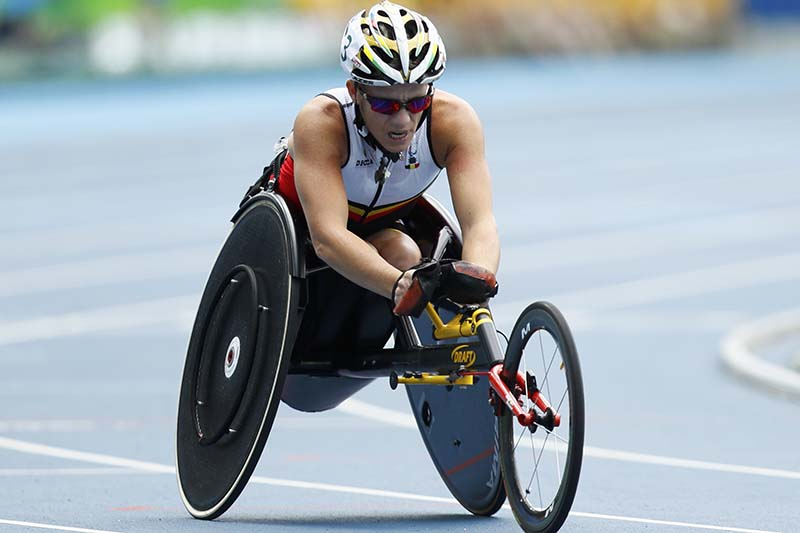 Marieke Vervoort of Belgium during the Women's 400m T52 Final at the 2016 Rio Paralympics at the Olympic Stadium in Rio de Janeiro, Brazil on September 10, 2016. Photo: Reuters