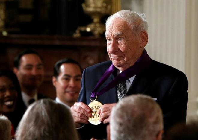 Comedian, actor and director Mel Brooks shows off his 2015 National Medal of Arts after receiving it from U.S. President Barack Obama at the White House in Washington, U.S., September 22, 2016.          REUTERS/Gary Cameron
