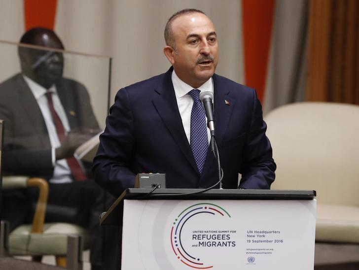 Foreign Minister Mevlut Cavusoglu of Turkey speaks during a high-level meeting on addressing large movements of refugees and migrants at the United Nations General Assembly in Manhattan, New York, U.S., September 19, 2016. REUTERS/Lucas Jackson
