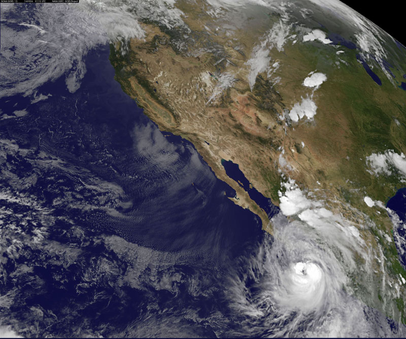Hurricane Newton, located about 160 miles (257 km) south-southeast of the tourist resort of Cabo San Lucas on Monday evening, is seen in an image from the NASA-NOAA GOES-West satellite taken on September 5, 2016. Photo: NASA via Reuters