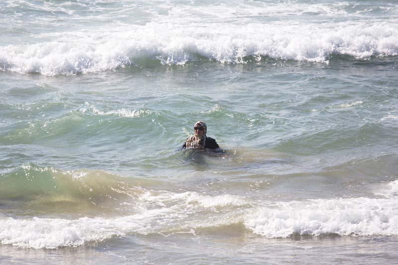 File- Muslim woman bathes in the Mediterranean Sea in Tel Aviv, Israel, on September 2, 2016. Photo: AP