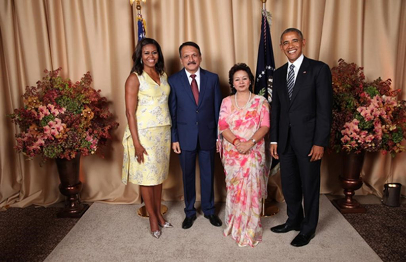 Minister for Foreign Affairs Prakash Sharan Mahat (2nd left) with US President  Barack Obama (right) pose for photo while attending a reception hosted in honour of visiting heads of delegations, on Wednesday , September 21, 2016. During the occasion, he had a brief exchange of views with President Obama and also talked with US Secretary of State John Kerry on matters of mutual interests. Photo: Permanent Mission of Nepal to the United Nations New York/MoFA
