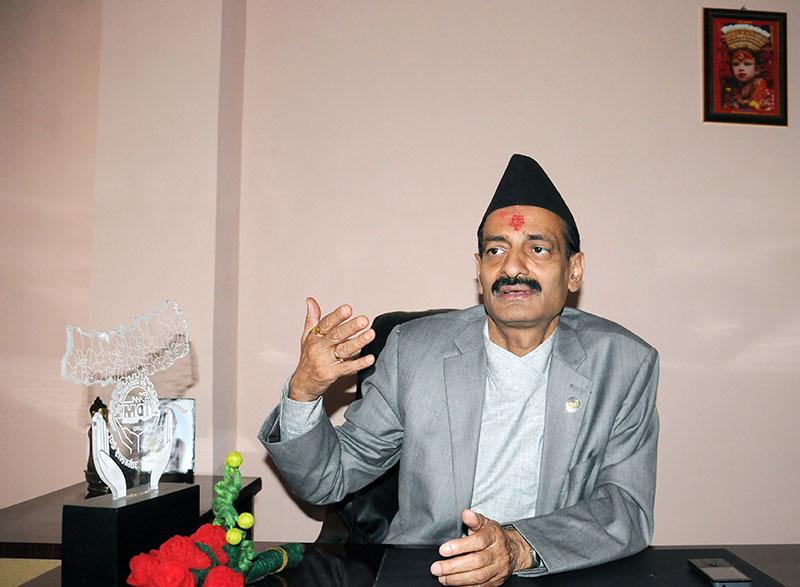 Interview with Minister for Industry Nabindra Raj Joshi in Kathmandu, on Sunday, September18, 2016. PHOTO: Balkrishna Thapa Chhetri