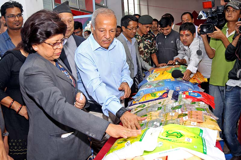 Minister for Supply Deepak Bohora inspects the fair prices shop set up for Dashain, Tihar and Chhath at the Bhadrakali Plaza, in Kathmandu, on Saturday, September 17, 2016. Photo: RSS