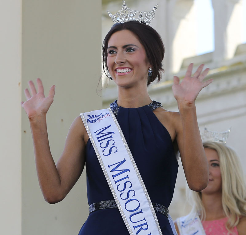 FILE - In this Tuesday, Aug. 30, 2016 file photo, Miss Missouri, Erin O'Flaherty waves as she is introduced during Miss America Pageant arrival ceremonies in Atlantic City. Photo: AP