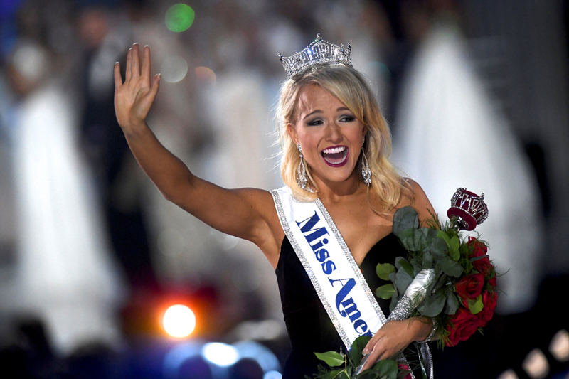 Miss Arkansas Savvy Shields, 21, reacts after winning the 96th Miss America Pageant inside Boardwalk Hall in Atlantic City, New Jersey September 11, 2016. Photo: Reuters