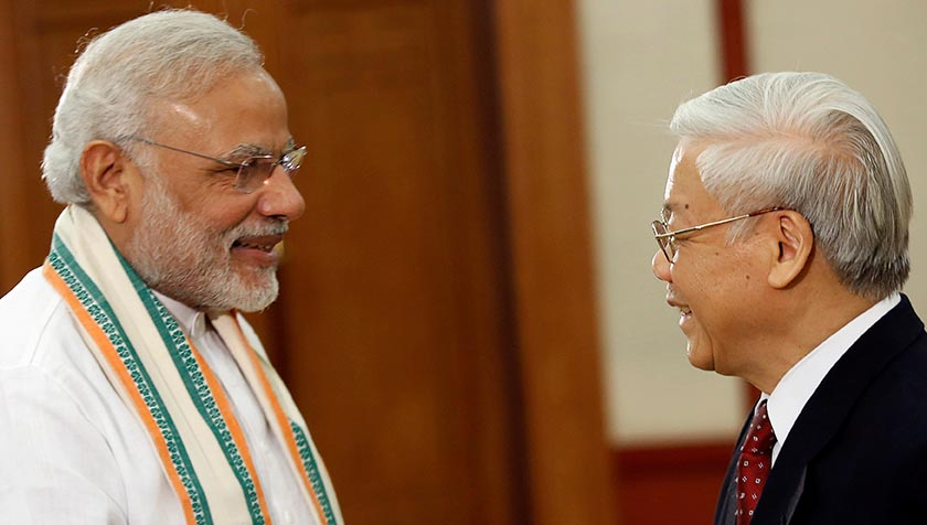 India's Prime Minister Narendra Modi (L) is greeted by Vietnam's Communist Party General Secretary Nguyen Phu Trong at the Party's headquarters in Hanoi, Vietnam September 3, 2016. REUTERS/Kham