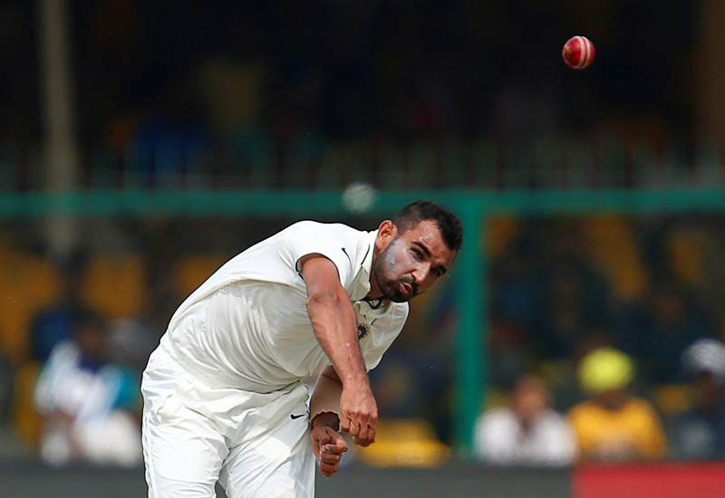 India's Mohammed Shami bowls against New Zealnd during first test match at Kanpur's Green Park Stadium, on Friday, September 23, 2016. Photo: Reuters