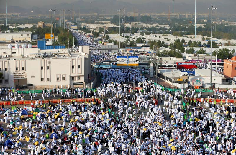 FILE: Muslim pilgrims gather on the plains of Arafat during the annual haj pilgrimage, outside the holy city of Mecca, Saudi Arabia September 11, 2016. REUTERS